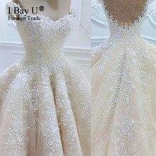IBayU 2017 New Arrival Wedding Dresses Muslim 3D Flower Applique Chamapange Bridal Wedding Gowns Robes De Maree Islamic Arabic