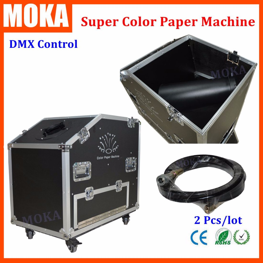 2 Pcs/lot super confetti machine flightcase packing no need power rainbow paper confetti shooter for wedding decoration 2pc lot high quality paper confetti machin shooter launcher for wedding disco dj party event decoration