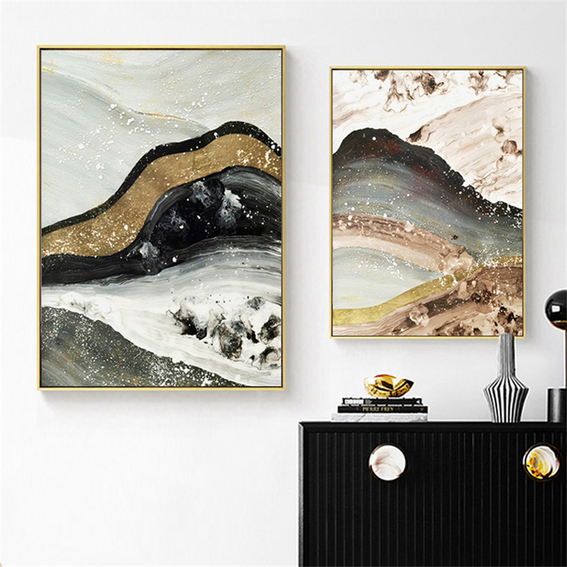 Chinese Style Ink Abstract Gold Quicksand Mountain Landscape Canvas Painting Living Room Poster Wall Picture Scandinavian Decor