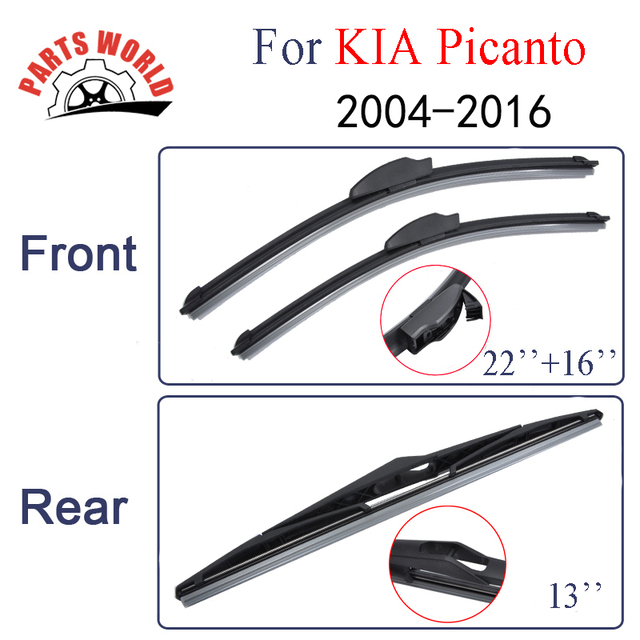 Combo Silicone Rubber Front And Rear Wiper Blades For KIA Picanto,2004-2016 ,Windscreen Wipers Car Accessories