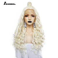 Anogol Brand New Platinum Blonde High Temperature Fiber Long Deep Wave Synthetic Lace Front Wig For White Women Free Part