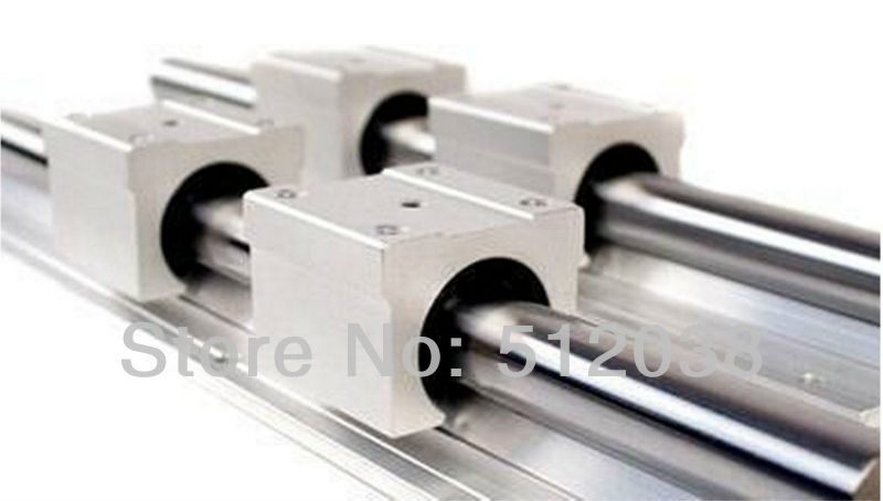 2pcs SBR20-800mm Linear Shaft Support Rails + 4pcs SBR20UU Open Linear Bearings Slide Linear Motion for DIY CNC XYZ table scs50uu linear ball bearing xyz table cnc router motion xyz slide block unit for 50mm linear shaft