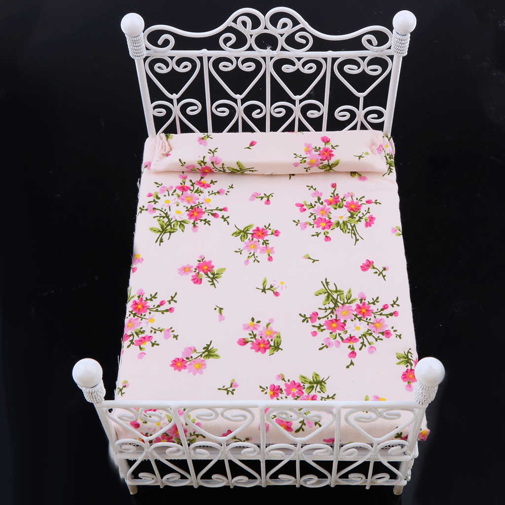 New 1: 12 Dollhouse Miniature Bedroom Furniture Metal Bed With Mattress Accessory Toy White