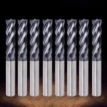 Концевая фреза для резки HRC50 4 флейты мельница 1/1. 5/2/2,5/3/4/5/6 мм легированнаякнопка карбидная Вольфрамовая сталь фрезерование цилиндрическая фреза с твёрдосплавной пластиной резак по металлу