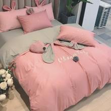 New Pink Gray Lovely Rabbit Ears Embroidery 100% Cotton Girl Bedding Set Duvet Cover Bed Sheet/Linen Pillowcases Gift For Child