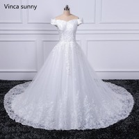 Real Photo Ball Gown Bridal Dress Vintage Muslim Plus Size Lace Wedding Dress 2019 Princess with Sleeve