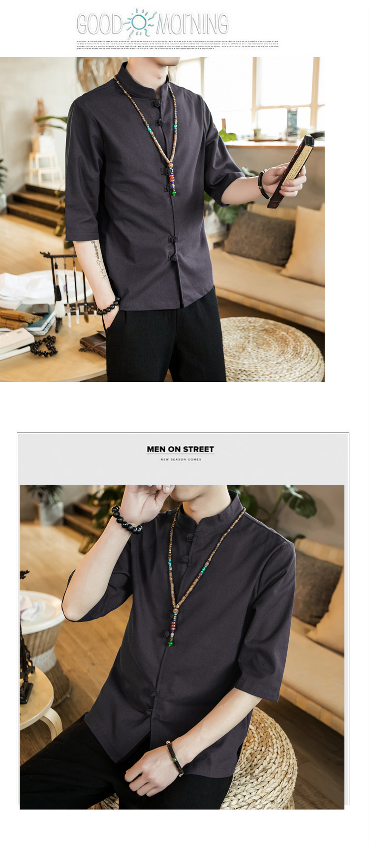 Chinese style summer fashion man's Pure color linen Short sleeve shirt high-grade male comfortable slim fit leisure shirt M-5XL 54