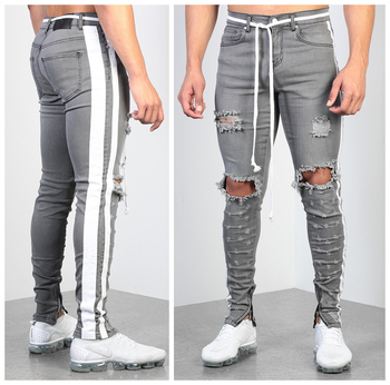 Men's Side Stripe Skinny Jeans Ripped Knee Holes Slim Fit Denim Pencil Pants Destroyed Frayed Man Gray Trousers Fashion Design knee holes frayed zipper fly narrow feet ripped jeans