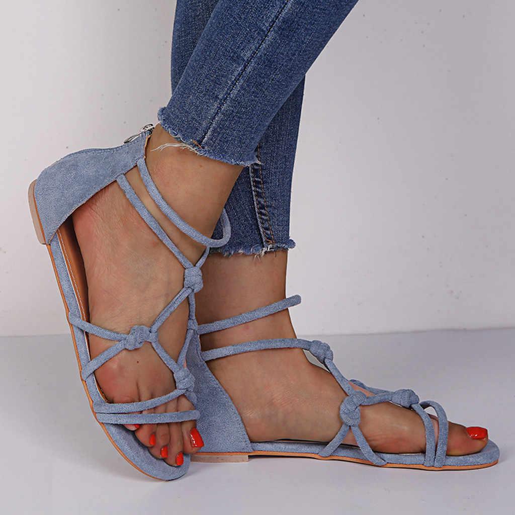 Moda yaz kadın sandalet bayanlar çapraz kayış düz ayak bileği roma sandalet kadınlar için rahat yaz ayakkabı 2019