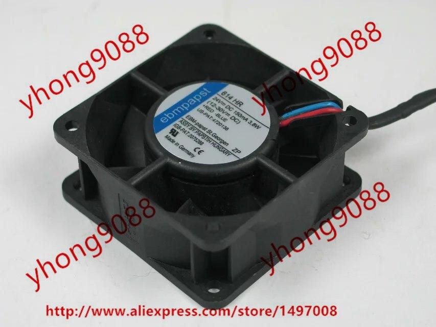 ebmpapst 614 HR 614HR DC 24V 3.8W 2-wire 60x60x25mm Server Square Fan nidec ta350dc c35403 57 server square fan dc 24v 0 15a 92x92x25mm 3 wire