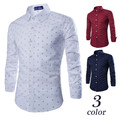 Brand New Little Anchor Print Men's Casual Shirt Social Solid Color Shirt Full Sleeve Turn Down Collar