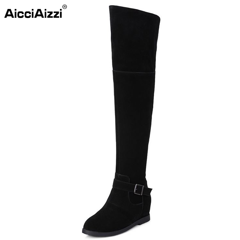 Size 33-40 Women Real Leather Over The Knee Boots Woman Height Increasing Botas Feminine Winter Warm Long Shoes Footwear