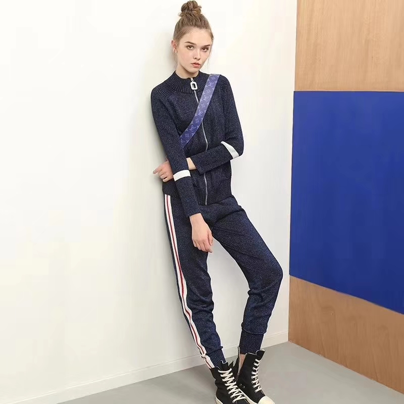 2018 Tracksuit For Women Knitted Slim Stripe Two Piece Set Fashion Feet Trousers Conjuntos De Mujer Sasual Roupas Feminina