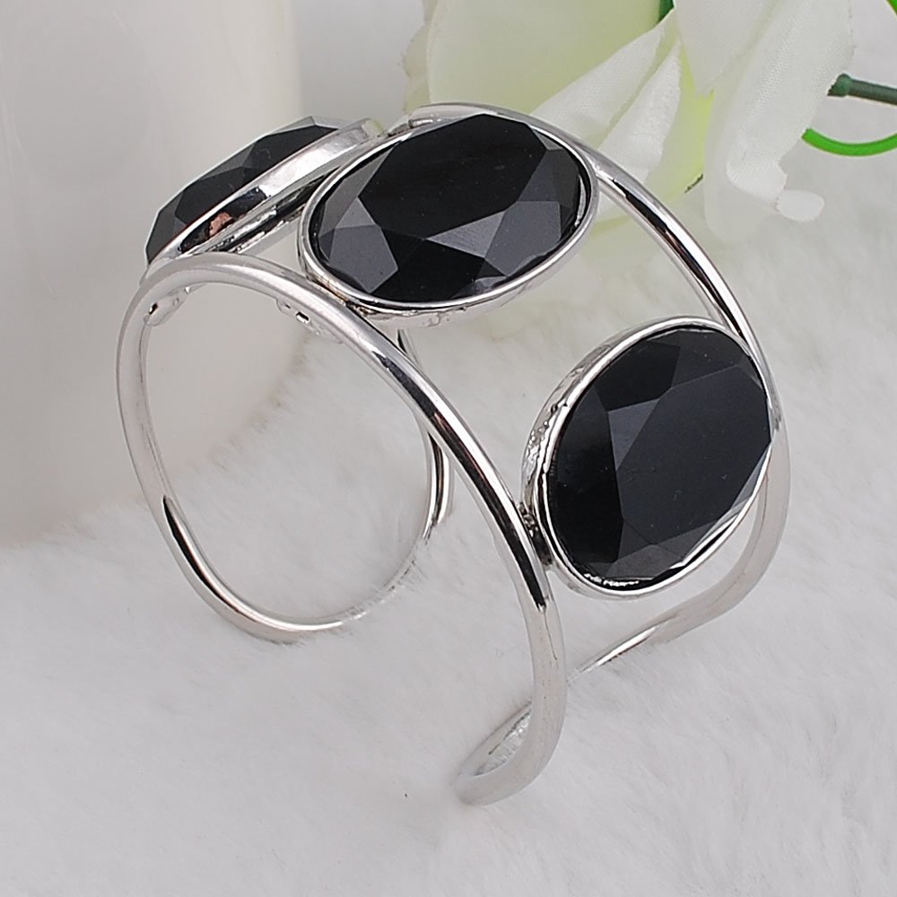 Big Cuff Bracelets For Women New Trendy Plated Round Jewelry Hollow Design Wide Bangles Bracelets 3