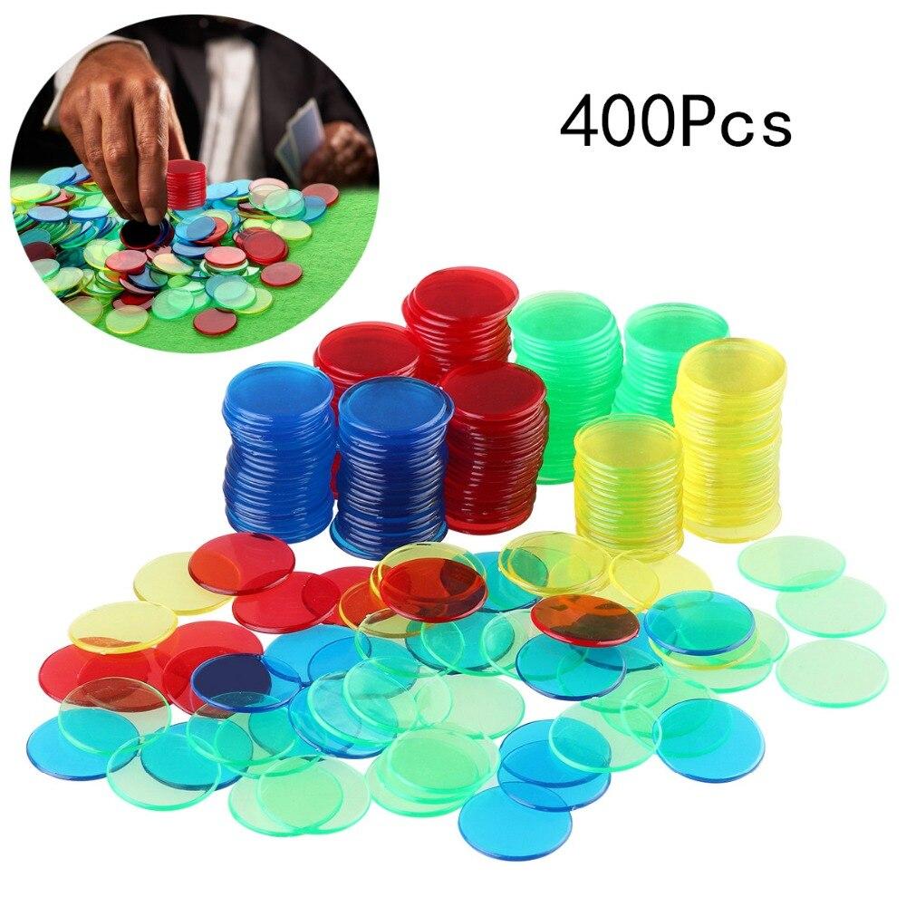 400 Pcs 4 Couleurs 3/4 Pouces Pro Compter Bingo Puces Marqueurs pour Bingo Jeu Portable de Jeu Partie Bingo Cartes Jeu accessoires