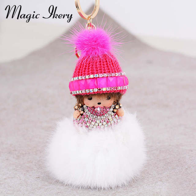 Magic Ikery Gold Plated popular Plush monchichi key chain  bag pendant Key Chains Wholesales Fashion Jewelry for women MKCH002