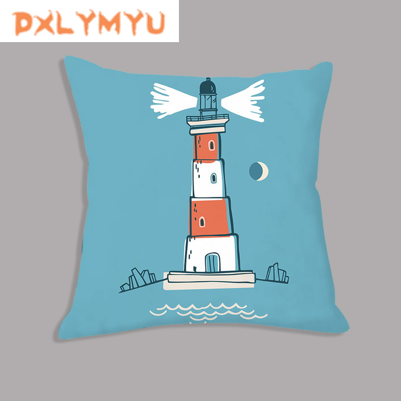 Plush Cushion Decorative Sofa Soft Pillowcase 45x45cm Throw Pillow Blue Captain Lighthouse Print Cushion For Kids Gifts