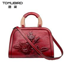 2017 New women bag genuine leather brands high quality cowhide embossing roses fashion women leather handbags shoulder bag