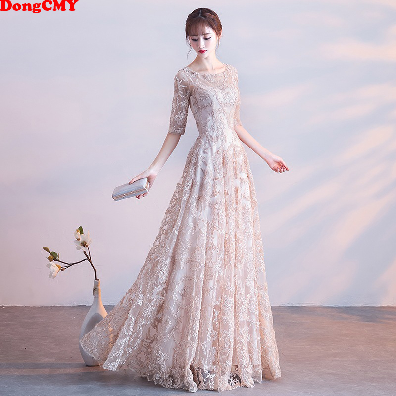 DongCMY 2020 New Natural Waist Prom Dresses Fashion Vestidos Women Flower Long Party Dress