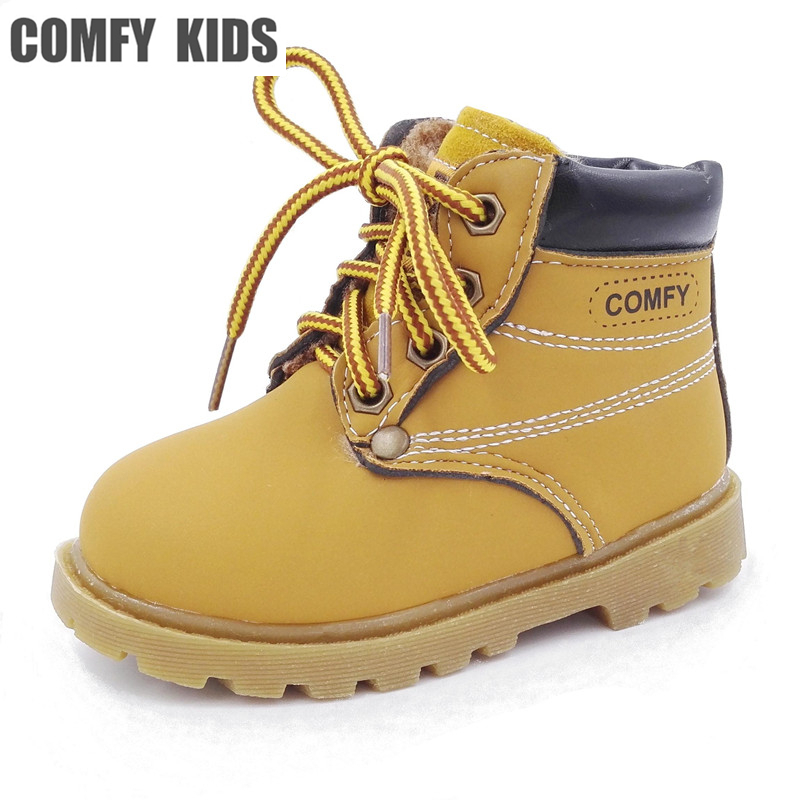 2017 Fashion New Child Snow Boots Shoes Boys Girls Leather Boots Children Kids Baby Toddlers Shoes For Boys Girls Sneakers Shoe