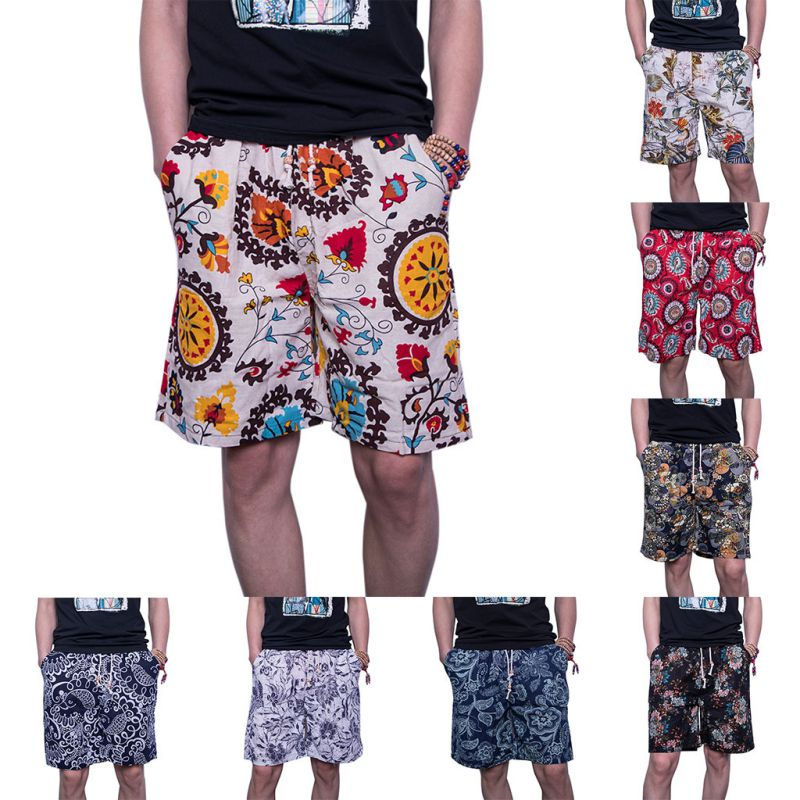 2018 Summer Casual Shorts Men Trousers Male Camouflage Fashion Flowers Print Straight Short Beach Mens Short free shipping
