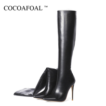 COCOAFOAL Spring Autumn Women #8217 s Knee High Boots Woman Shoes Sexy High Heels Boots Pointed Toe Knee High Boots Patent Leather cheap Mid-Calf Solid Microfiber Women Martin Boots Adult Fits true to size take your normal size Spring Autumn Spike Heels Riding Equestrian