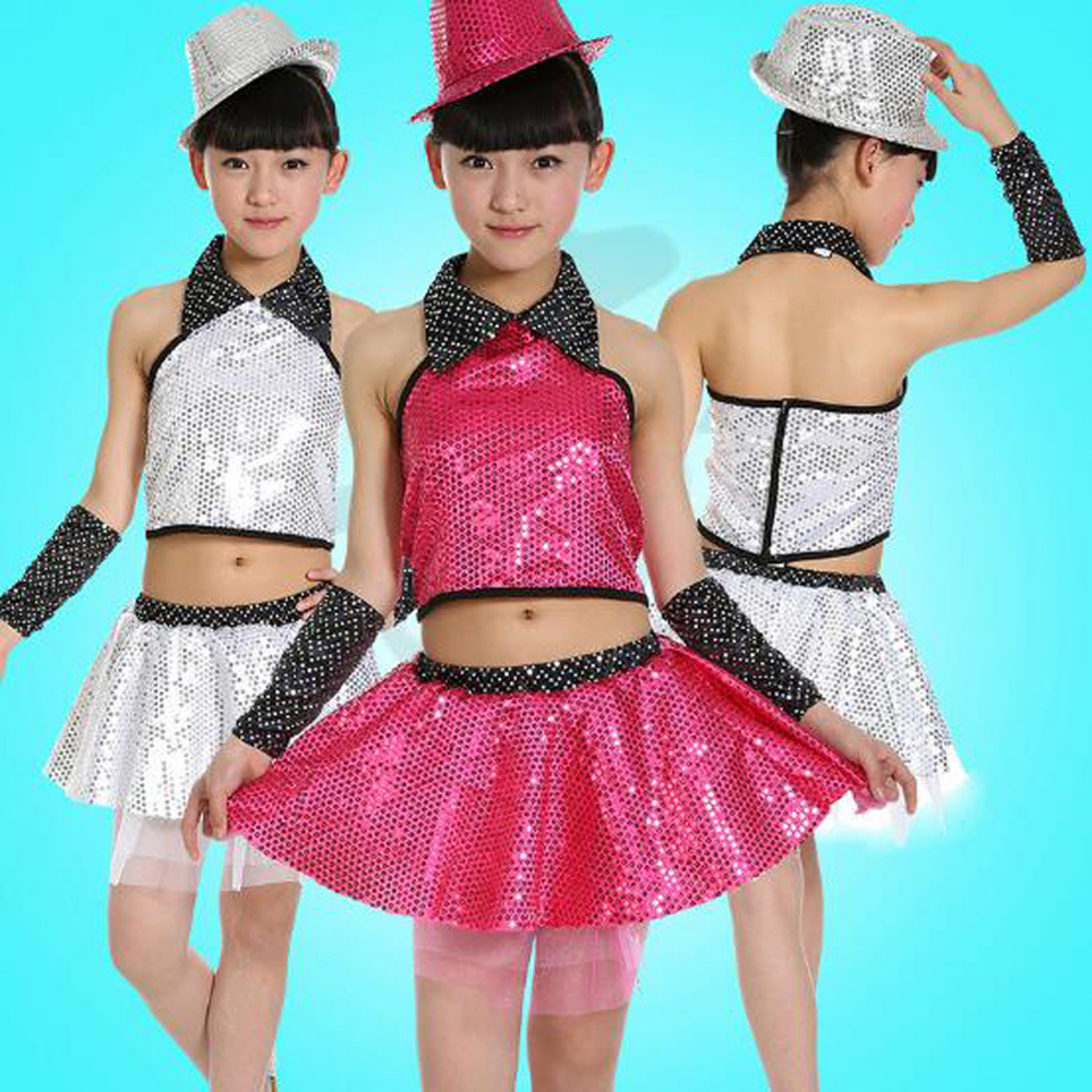Children's sequined veil skirt modern dancing wear jazz dance clothes white/rose girls stage show performance costumes