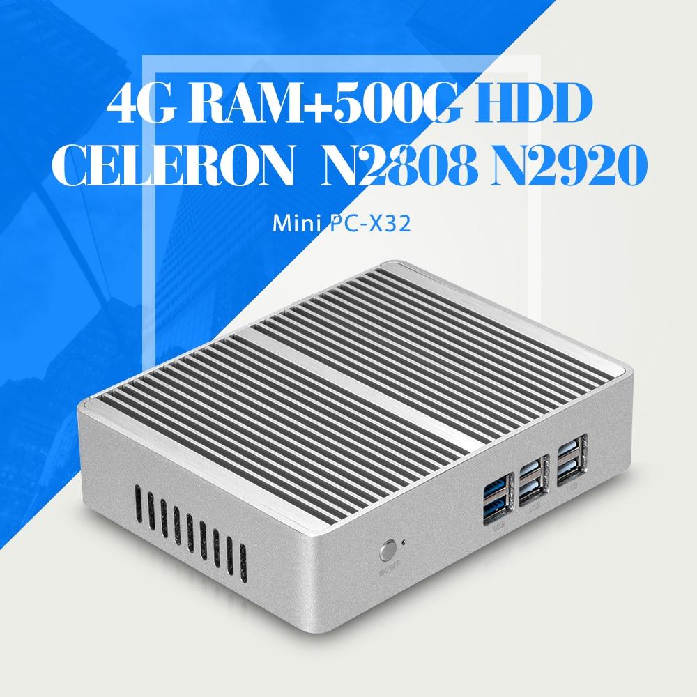 Celeron N2808 N2920 DDR3 4G RAM 500G HDD WIFI Desktop Computer Fanless Motherboard Mini PC Tablet