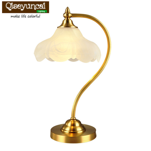 Qiseyuncai 2018 American Past Copper Table Lamp Vintage Warm Simple Fashion Study Living Room Bedroom Bedside