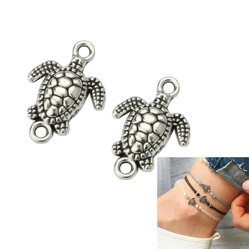 KJjewel Antique Silver Plated Turtle Tortoise Charm Connector for Jewelry Making Beach Bracelet Accessories Handmade DIY 21x15mm