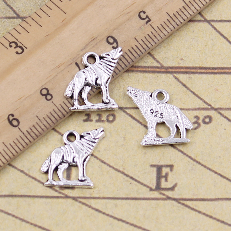 20pcs/lot Charms Howling Wolf <font><b>15x15mm</b></font> Antique Silver Color Pendants Making DIY Handmade Tibetan Finding Jewelry For Bracelet image