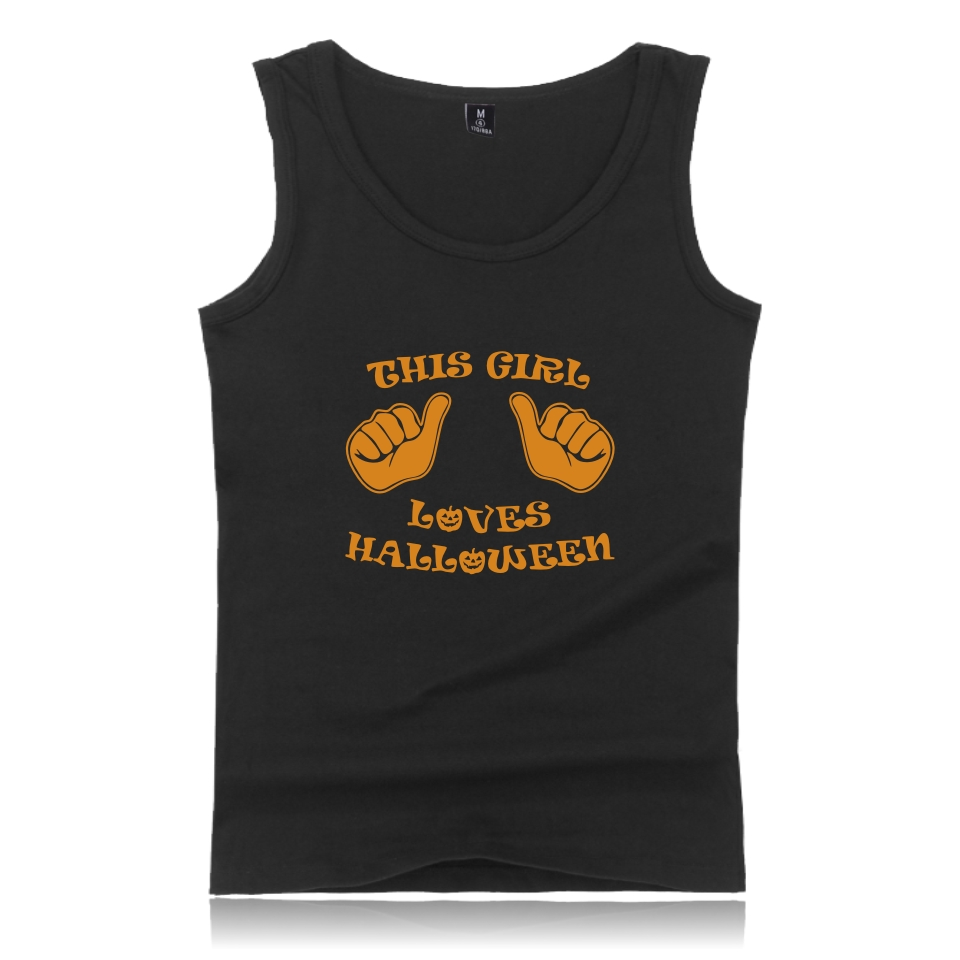 Halloween Tank Top Bodybuilding O-Neck Tank Top Men's Summer Black Funny Printed Casual Vest Plus Size Fashion Clothing 4XL