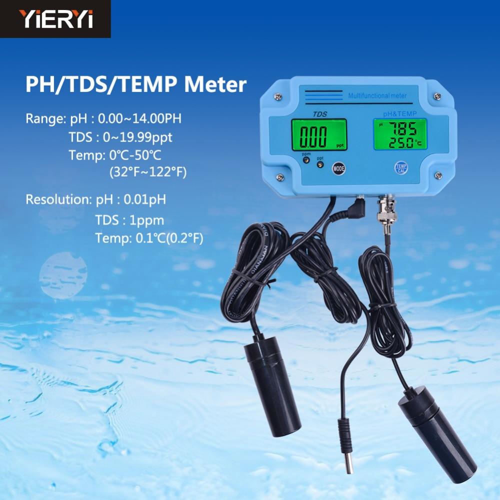Yieryi PH-2983 Digital Ph Tester, Temperature & Tds 3 In 1 Multi-parameter Water Quality Analyzer Water Meter Water Tester Tool цена