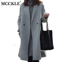 mcckle women's elegant long style warm wool blends autumn winter vintage solid coats jackets ladies casual oversized