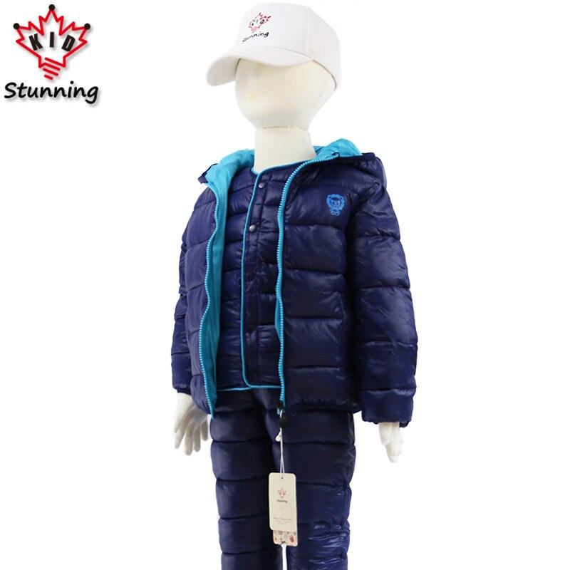 2-7T Winter Thicken Warm Boys Clothing Sets 3Pcs Hooded Coats+Vest+Pants 2018 Kids Clothes Fashion Snow Boys Suit Christmas