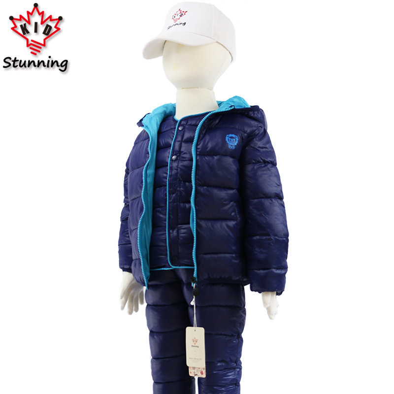 2-7T Winter Thicken Warm Boys Clothing Sets 3Pcs Hooded Coats+Vest+Pants 2018 Kids Clothes Fashion Snow Boys Suit Christmas