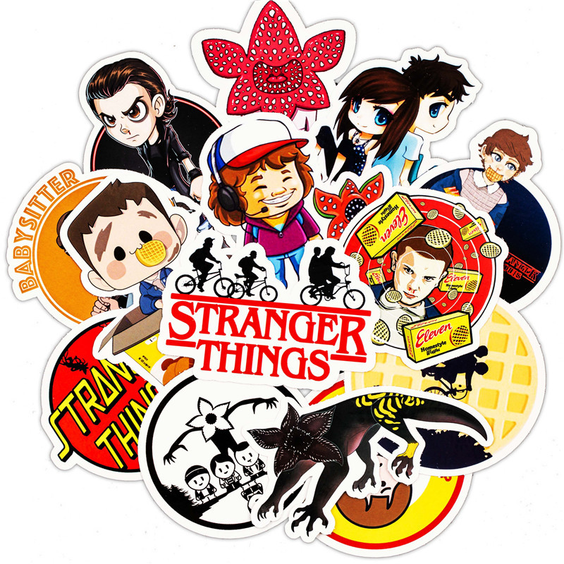 30PCS Pack Stranger Thing Figure Stickers Set Anime Toy Sticker For Luggage Skateboard Motorcycle Laptop Waterproof Sticker