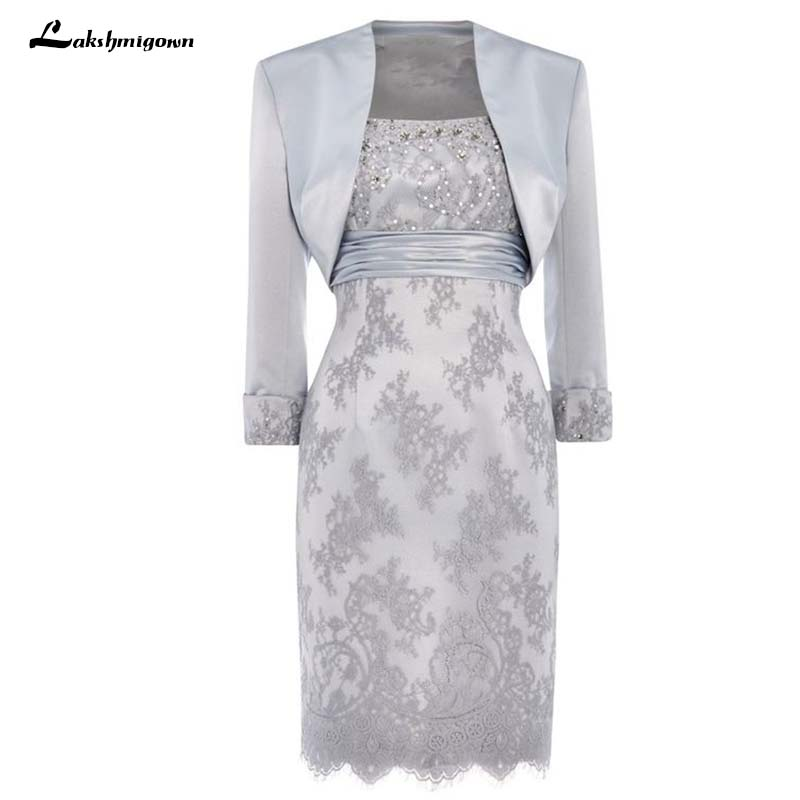 US $96.0 25% OFF Plus Size Silver Grey Mother Of The Bride Dresses Sheath  Sweetheart With Jacket Knee Length Short Mother Dress For Wedding-in Mother  ...