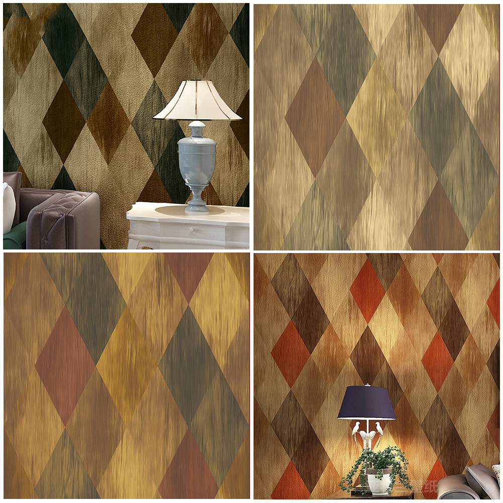 ФОТО Haok Home PVC Vinyl Vintage Geometric Diamond 3D Wallpaper Living room Bedroom Home Wall Decoration,Blue Brown Rhomubus wall art