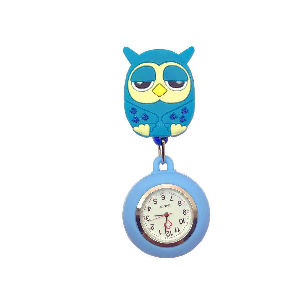 Модные милые Мультяшные животные дизайн Масштабируемые мягкие резиновые медсестры карманные часы дамы Женщины доктор улыбка медицинские часы