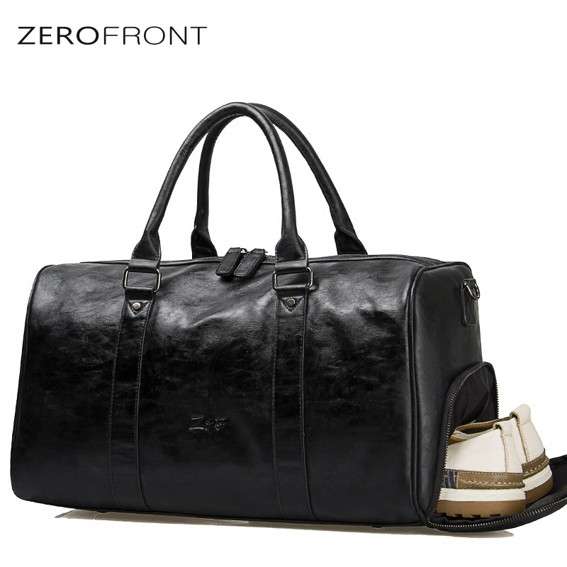 Men' Travel Duffle Bags PU Leather Shoe Pocket Men's Travel Bags Black Shoulder Handbag Messenger Bag Tote 15 inch Laptop bags tassels pu leather pocket tote bag page 3