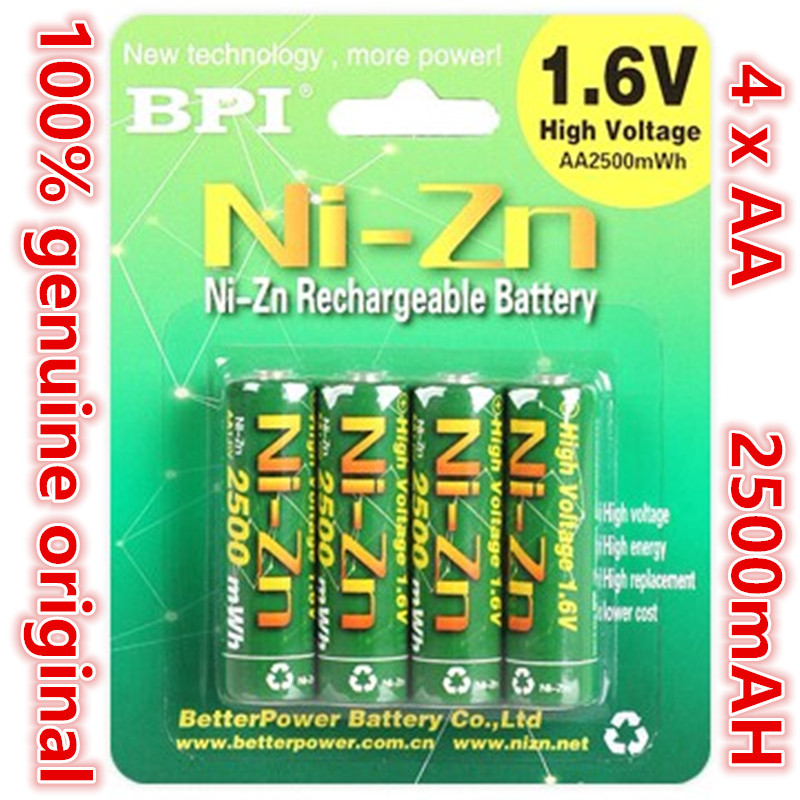 4pcs/lot Original BPI AA 2500mAh 1.6V 1.5V NI-Zn Battery Low self-discharge batteries high persistence rechargeable batteries 1pcs lot battery holder box case 3x aa 4 5v with switch