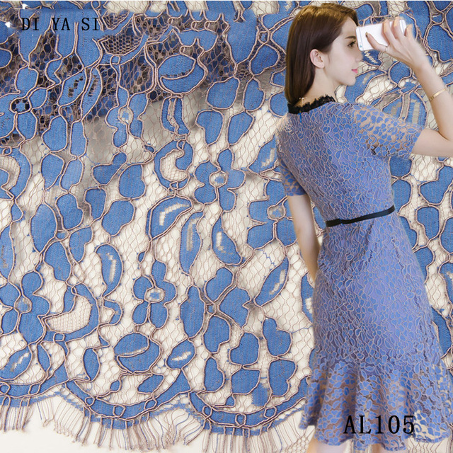 Beautiful Black White Eyelashes Lace Fabric Wedding Decoration Diy Craft Table Cloth Width