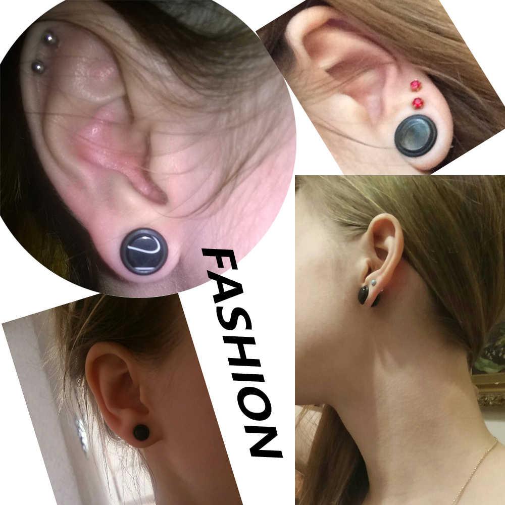 Par de tapones para los oídos de acrílico estiramiento Piercing surtidos de colores auriculares calibre Piercing O-Anillos Piercing oreja expansor de joyería del cuerpo