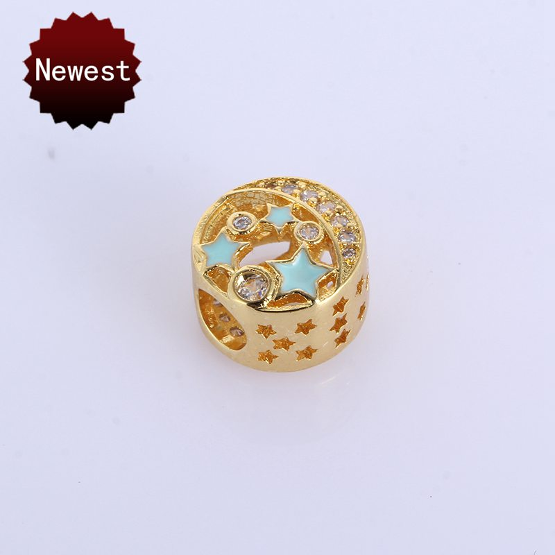 Original DIY European Snake Chain Bracelets Bead Charm Openwork Blue Star Enamel Copper PANDOR Beads With Clear CZ For Women