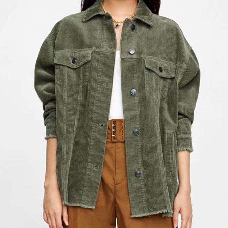 promo code 0218d 8ce76 Herbst Mantel Cord Jacken Frauen Outwear Für Damen Weibliche Armee-grün  Mode Jacken Herbst Mantel Lässig Outwear Femme