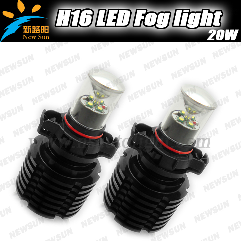 super bright 1000lm 20W LED 5202 H16 Car Fog Lamp Driving Light Bulb Daytime Running Light DRL Head Lamp 6000K White with driver  1 pair h3 headlight daytime running light white drl super bright led car headlamp head light lamp driving bulb auto fog lamp