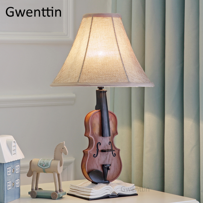 Violin Table Lamps Led Stand Lights for Children Kids Bedroom Bedside Lamp Modern Fabric Standing Lights Home Decor LuminaireViolin Table Lamps Led Stand Lights for Children Kids Bedroom Bedside Lamp Modern Fabric Standing Lights Home Decor Luminaire