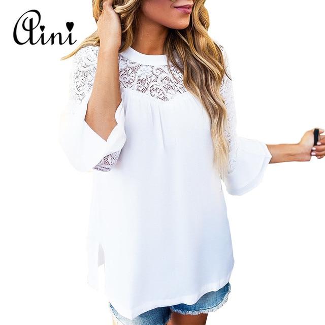 Plus Size 5XL Women Tops and Blouses Long Sleeve Lace Chiffon Ladies Hollow Out Transparent Summer Tops White Blouse korean bts