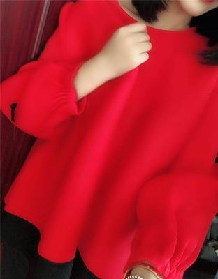 Collare Foglia Modo Navy Patchwork Trasporto Di shirt rosso Lanterna Lunga Manica Loto Verde T Libero arancione colore Magazzino blu Fold In Rosa 0r10w